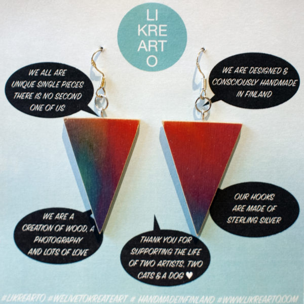 Triangle Earrings rainbow colorish